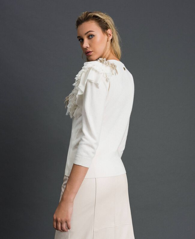 Cashmere blend jumper with fringes White Snow Woman 192TT3304-04