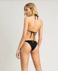 Thong with tie laces Black Woman 191LMMR88-03