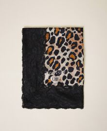 Animal print scarf with lace Animal Print Woman 202LL4FTT-01