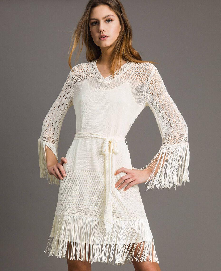 Mesh stitch fringed dress Ecrù Woman 191TT3060-02