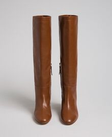 Leather high boots Leather Brown Woman 192TCP100-04