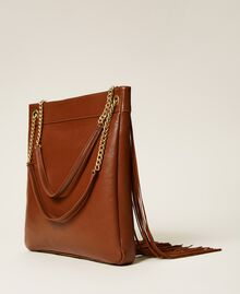 Leather bag with fringes Dark Hide Woman 212TD8010-04