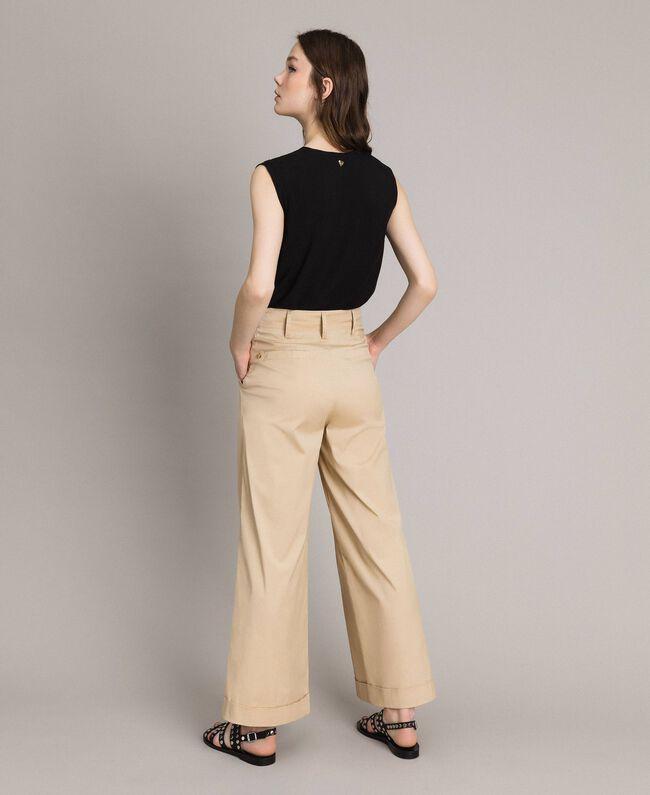 Pantaloni a palazzo in popeline Porcellana Beige Donna 191MP2213-03