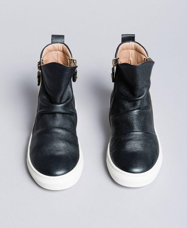 Sneakers abotinadas de piel Negro Niño HA88B1-01