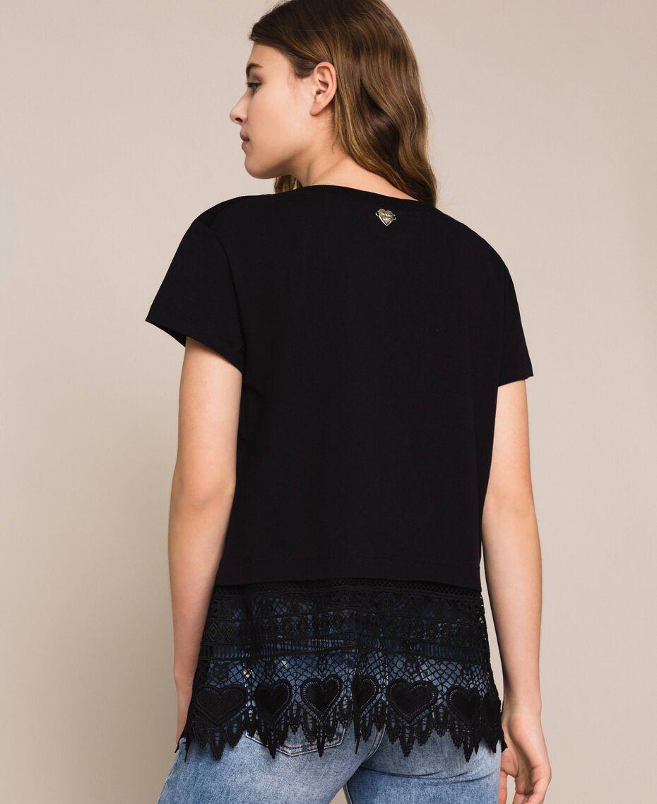 Maxi T-shirt con ricamo macramé Bianco Donna 201LM2HCC-03
