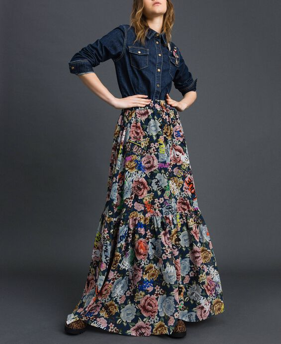 Long skirt with floral and graffiti print