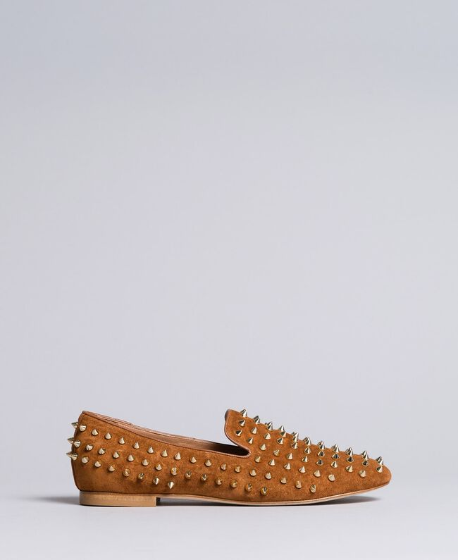Suede studded slippers Reddish Brown Woman CA8TFJ-04