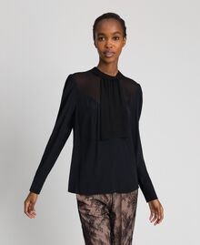 Crêpe de Chine and georgette blouse Black Woman 192TT2430-02