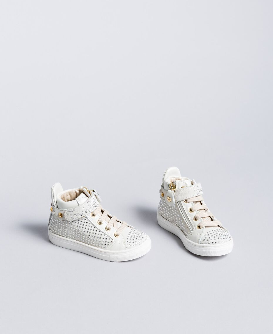 Leather and rhinestone sneakers Off White Child HA88DA-02