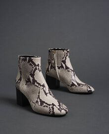 Leather ankle boots with animal print Rock Python Print Woman 192TCT012-01