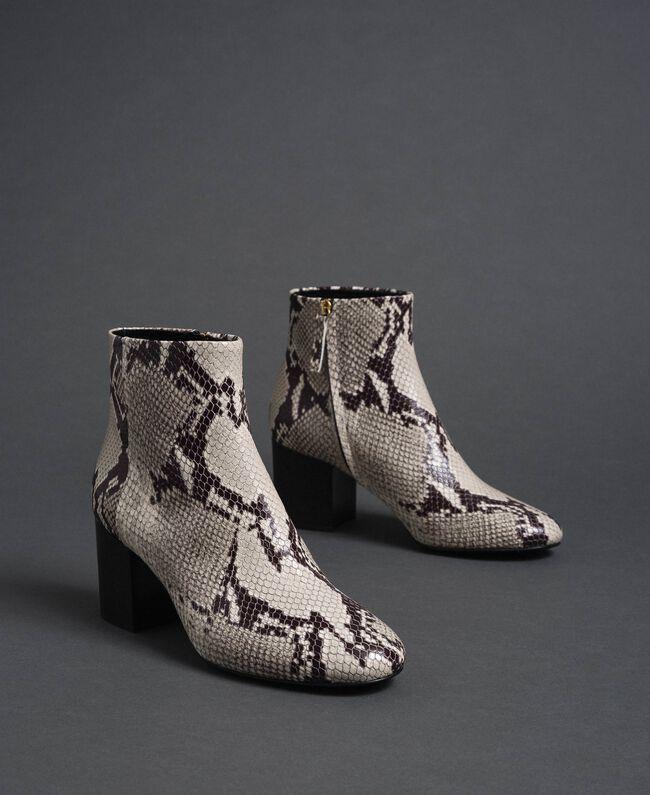 Bottines en cuir avec imprimé animalier Imprimé Python Roche Femme 192TCT012-01