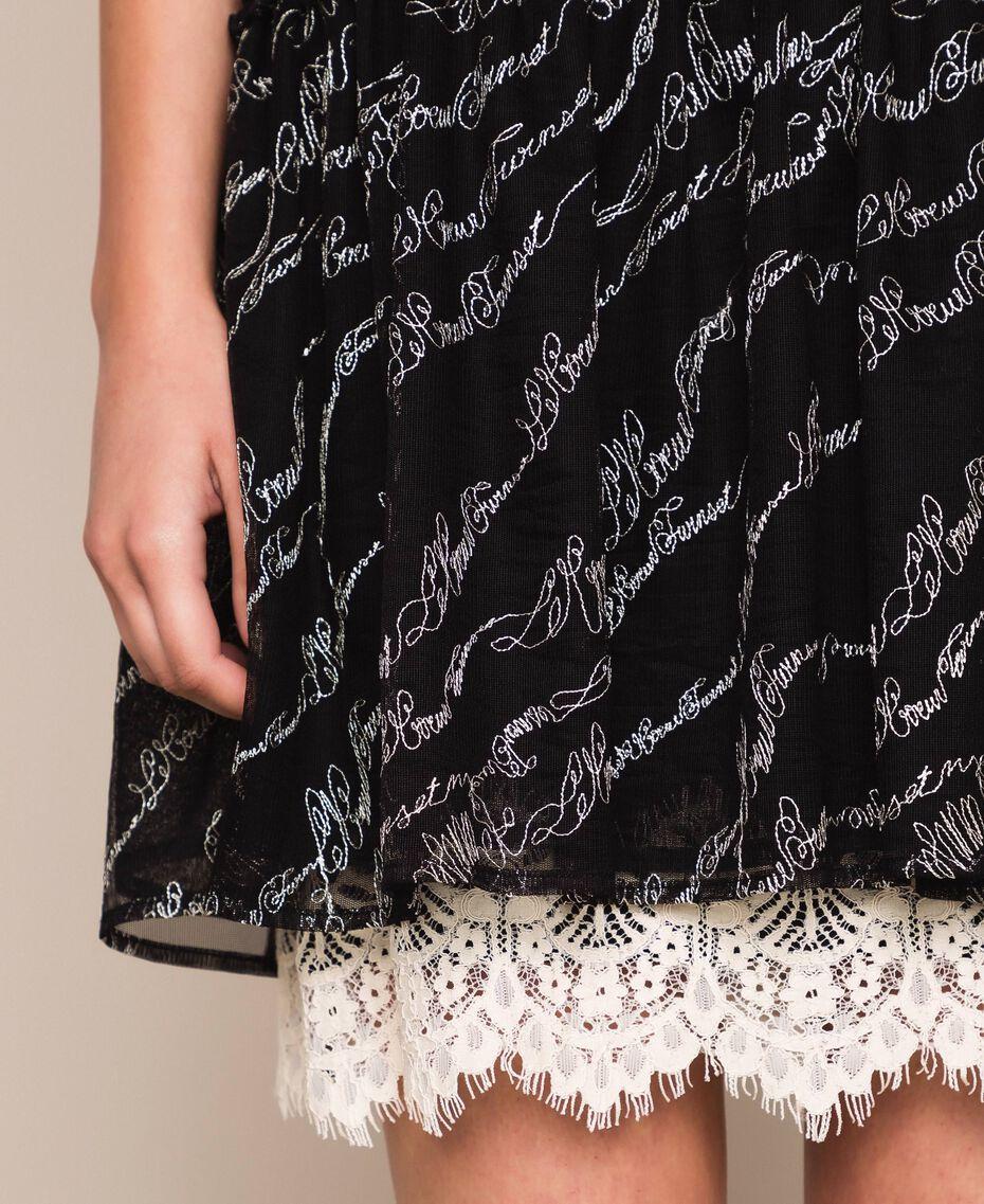 Платье из тюля с вышивкой логотипа Черный женщина 201ST2041-05