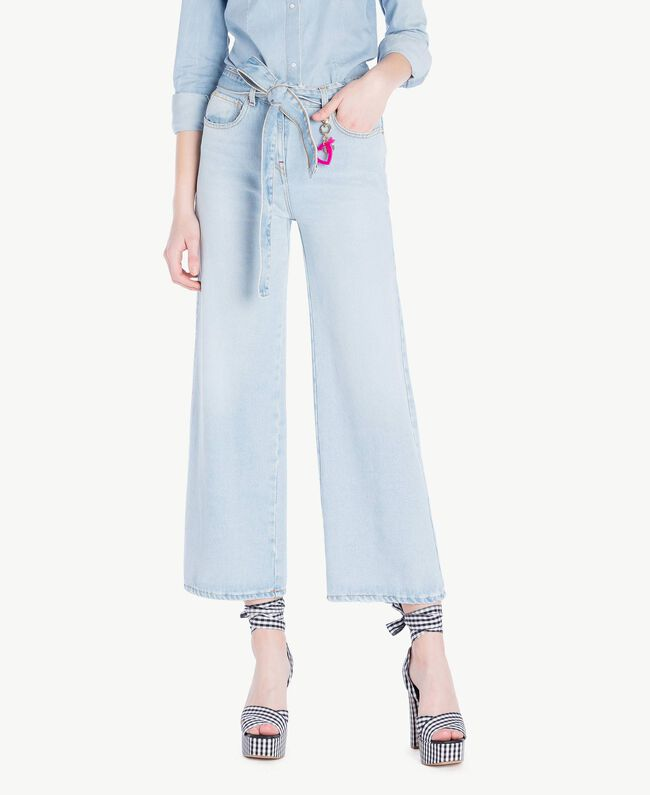 Jeans mit weitem Bein Denimblau Frau JS82WV-01