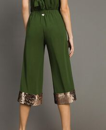 Cropped trousers with sequins Amazon Green Woman 191LM2CBB-03
