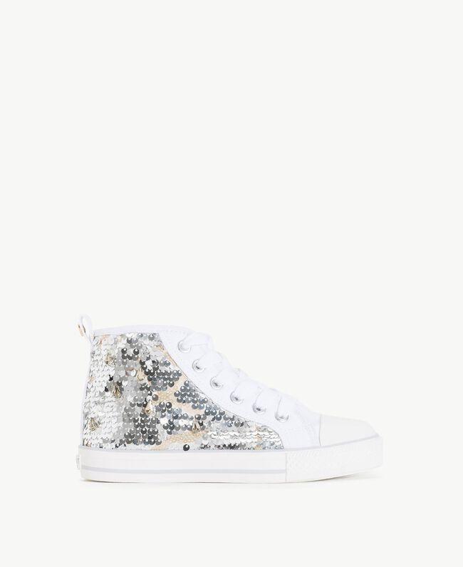 Sneaker mit Pailletten Silber / Nickel Kind HS88GA-01