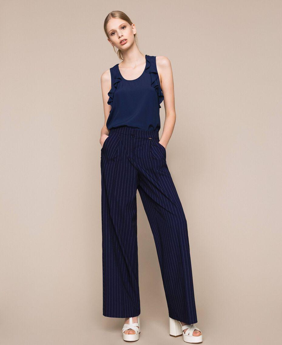 Pin stripe palazzo trousers Midnight Blue Pin Stripe Jacquard Woman 201ST2083-01