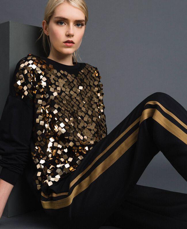 Pantalon cigarette avec bandes contrastées Noir Femme 192ST2201-04