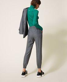Pantalon de jogging en laine mélangée Rayé Gris Chiné / Argent «Lurex» Femme 202TT2173-04