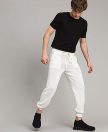 Cotton-blend jogging trousers Matte White Man 191UT3083-0T