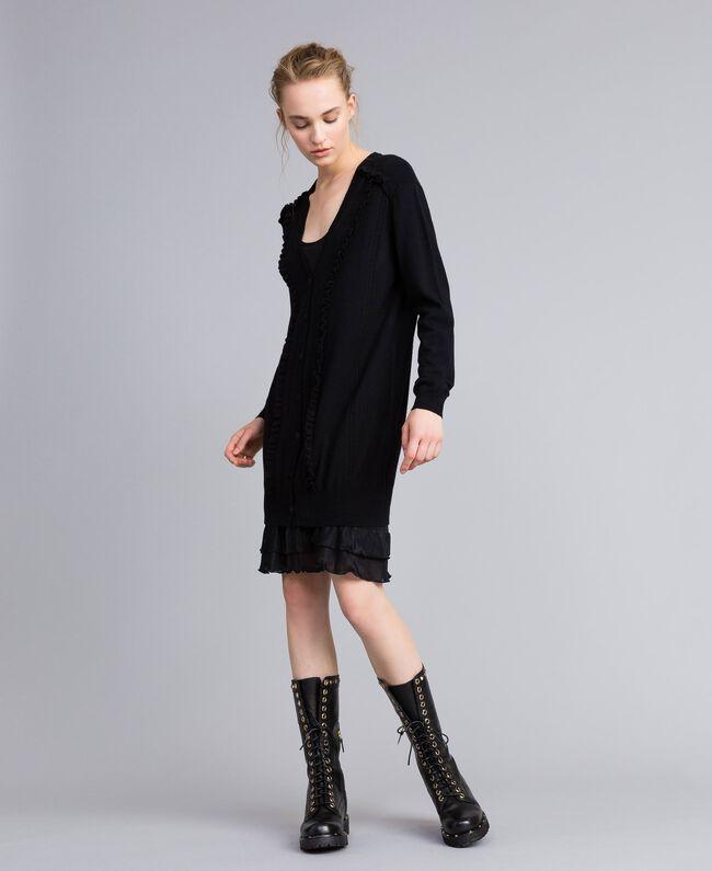 Kleid aus Wolle und Kaschmir mit Unterkleid Schwarz Frau PA83AP-01