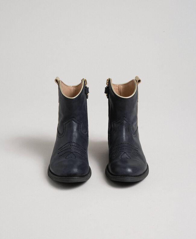 Bottines style santiags en cuir Noir Enfant 192GCJ02A-04
