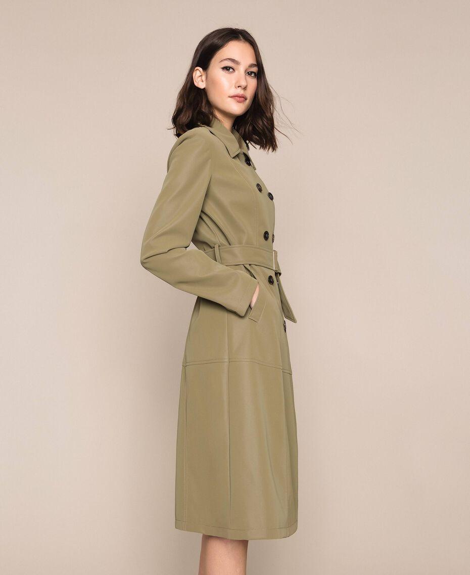 """Тренч из искусственной кожи """"Olive"""" Зелёный женщина 201LL2PBB-03"""