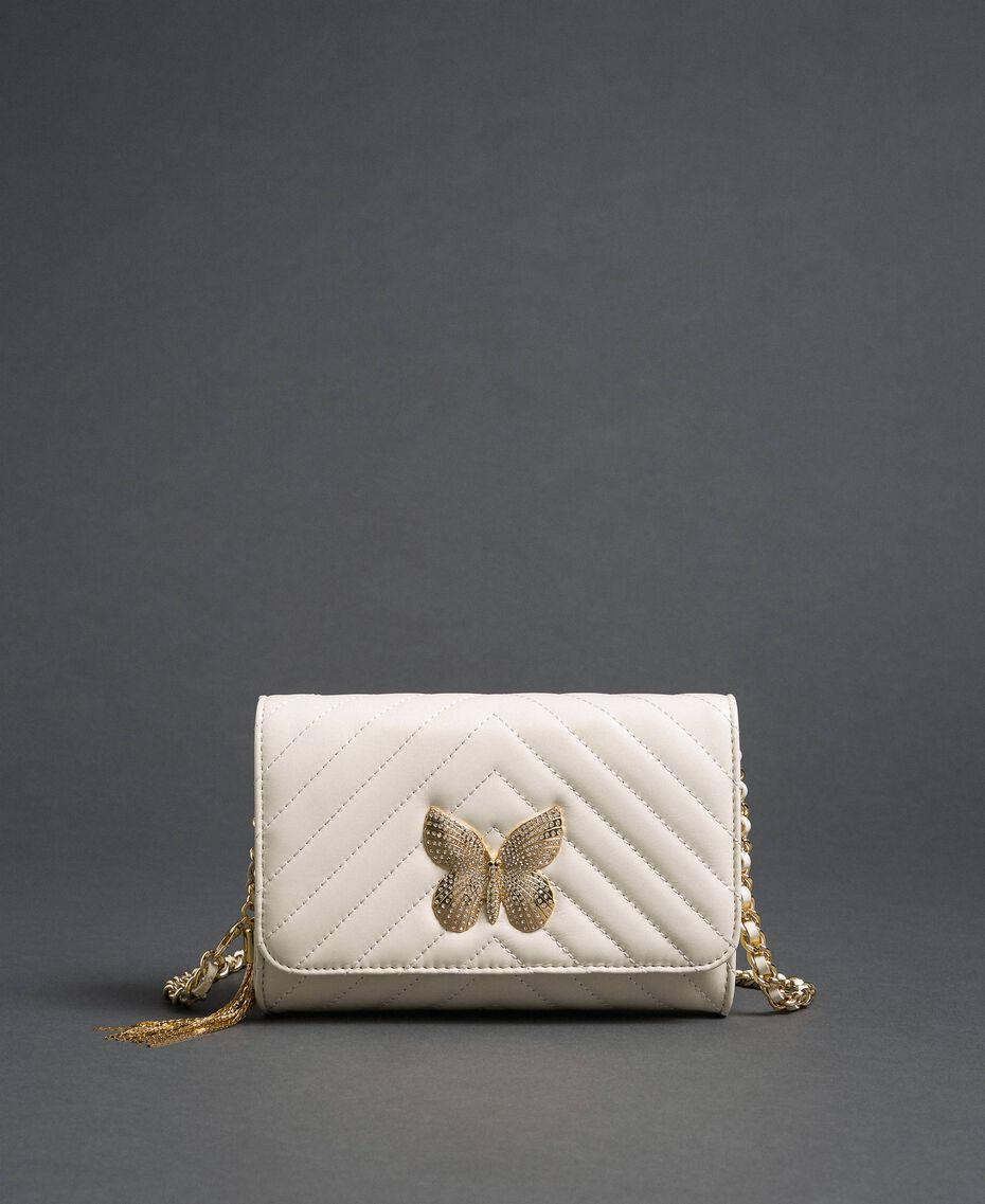 Borsa a tracolla piccola in pelle trapuntata Bianco Papiro Donna 192TA7106-03