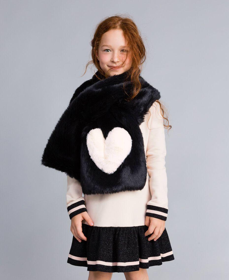 Étole en fausse fourrure avec cœur Bicolore Noir / Rose «Blush» Enfant GA8FC4-0S