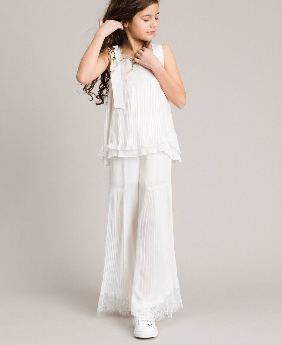 Pleated georgette and lace trousers Off White Child 191GJ2QA1-02