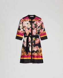 Shirt dress with floral scarf print Placed Scarf Print Woman 192TP2601-0S