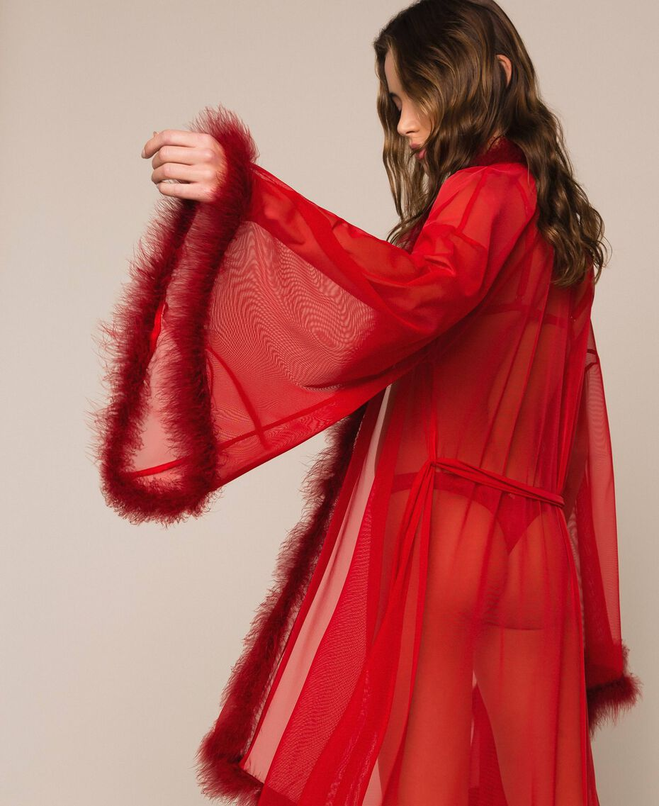 Tulle dressing gown with feathers Pomegranate Red Woman 201LL23WW-01
