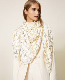Jacquard kefiah with chain print Parchment White Woman 202TO5109-0S