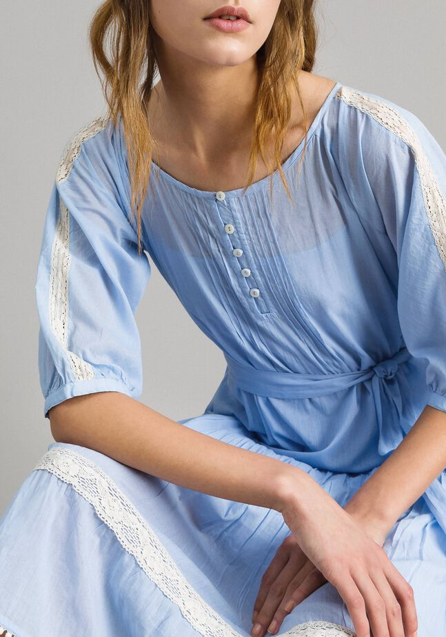 Voile dress with lace and embroideries