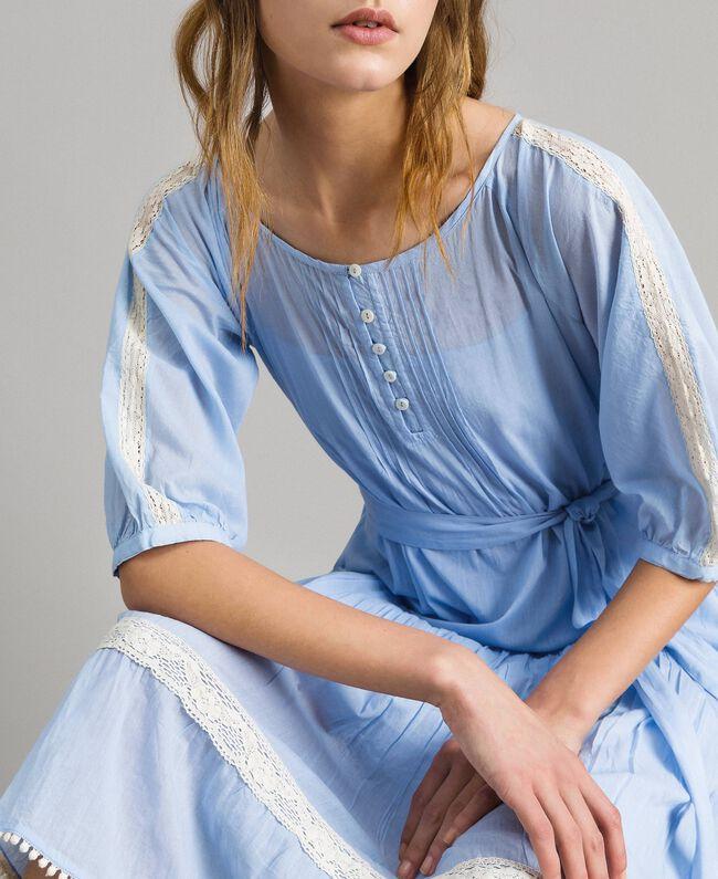 """Voile-Kleid mit Spitze und Stickereien Zweifarbig """"Atmosphere"""" Hellblau / Ecru Frau 191ST2113-01"""
