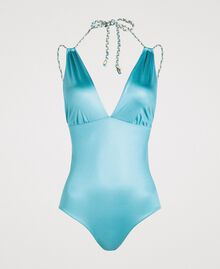 Maillot de bain une pièce en tissu brillant Bleu Lumière du Jour Femme 191LMMC00-01