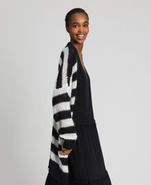 "Striped mohair maxi cardigan Black / ""Papyrus"" White Stripe Woman 192TP3272-03"