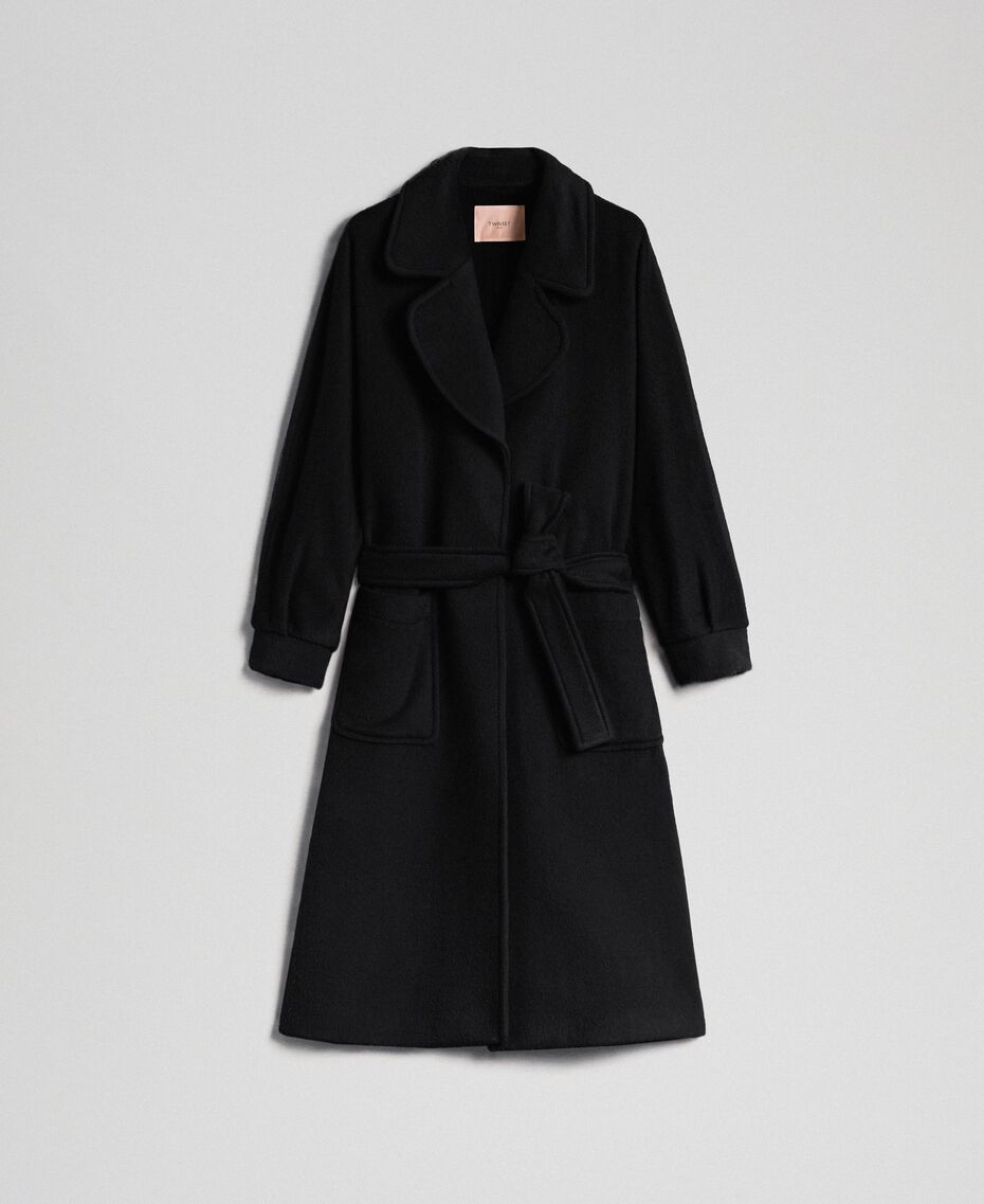 Long wool cloth coat Black Woman 192TT2600-0S
