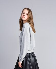 Sweat en coton Gris clair chiné Femme JA82FB-02