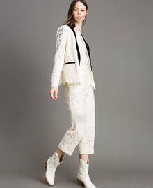 Pantaloni cropped in pizzo macramè Bianco Neve Donna 191TP2255-02