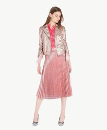 "Embroidered biker jacket Metallic ""Hydrangea"" Pink Woman PS82Q1-05"