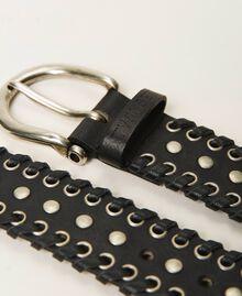 Ösengürtel aus Leder mit Nieten Leder Frau 211TO506B-03