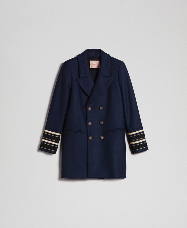 Double breasted wool cloth coat Midnight Blue Woman 192TT2161-0S