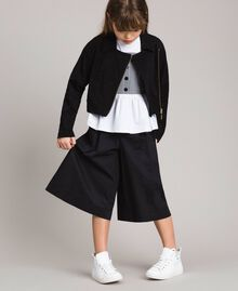 Fleece biker jacket with rhinestones Black Child 191GJ2460-0S
