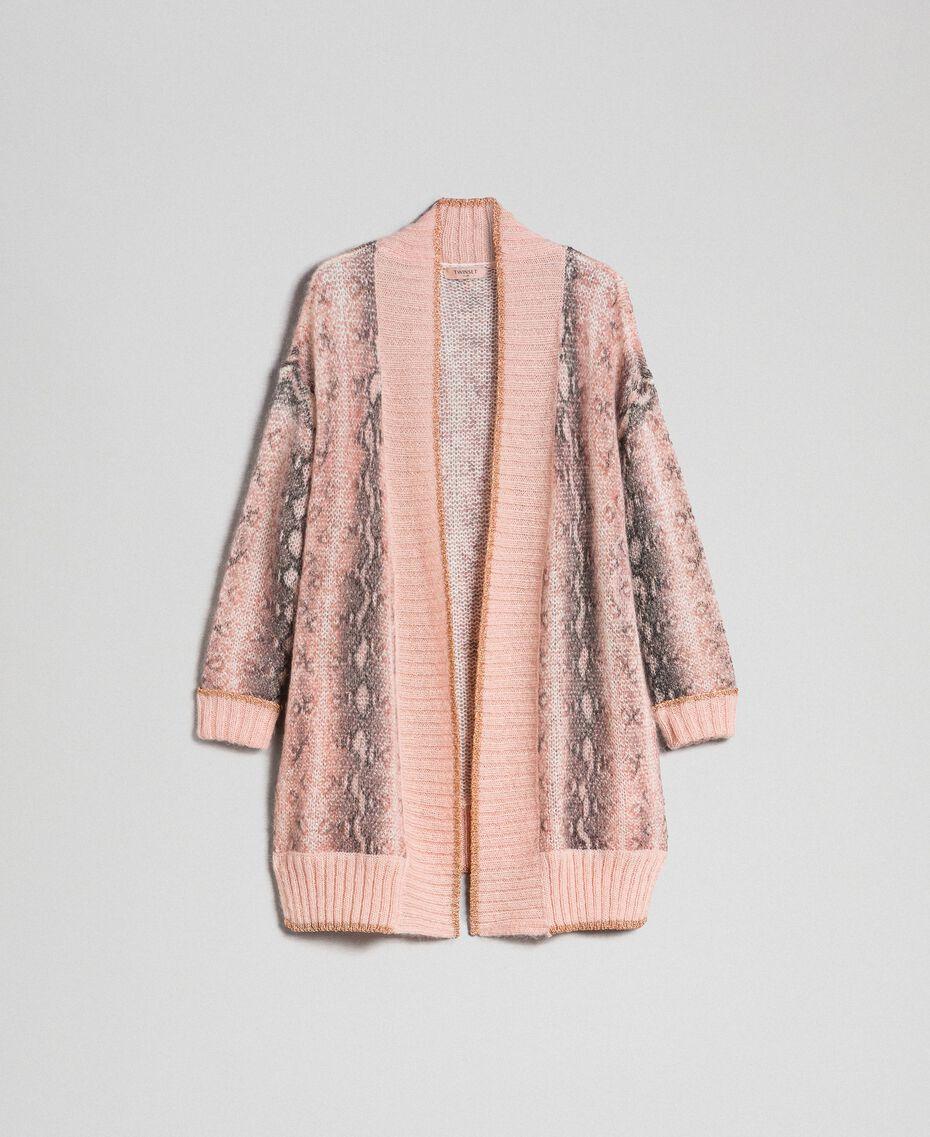 Animal print mohair maxi cardigan Canyon Pink Python Print Woman 192TT3331-0S
