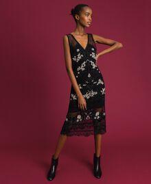 Robe en tulle plumetis avec broderie florale Noir Femme 192TT2042-01