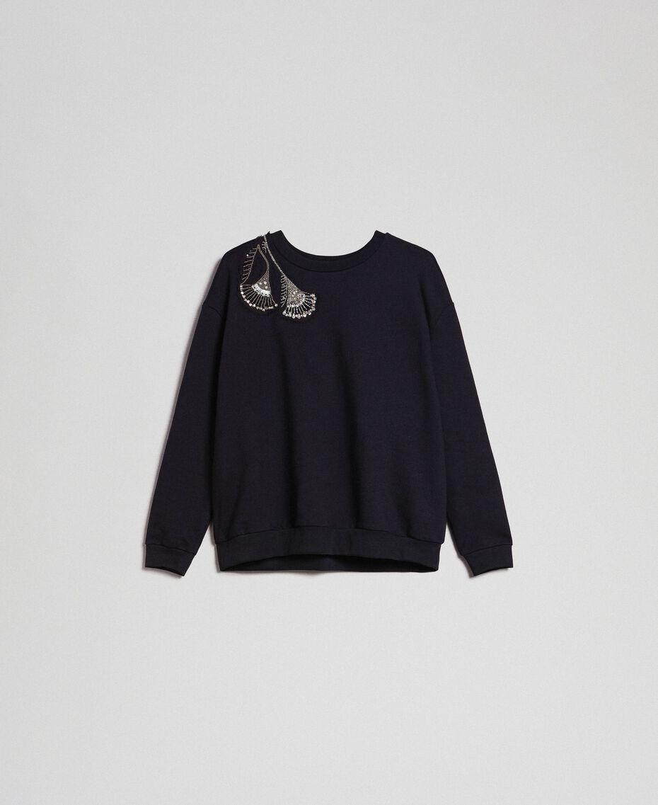 Sweat avec broderie florale de strass et de sequins Noir Femme 192TP2731-0S