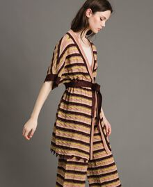 "Cardigan with multicolour lurex stripes Multicolour ""Bronze Powder"" Brown Woman 191LB3ADD-02"