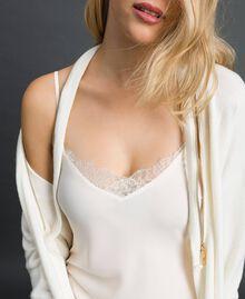 Maxi cardigan en cachemire mélangé avec fond de robe Blanc Neige Femme 192TT3092-06