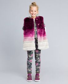 """Ombre faux fur gilet """"Grape"""" Purple / """"Bougainvillea"""" Pink Gradient Print Child GA82ZA-0S"""