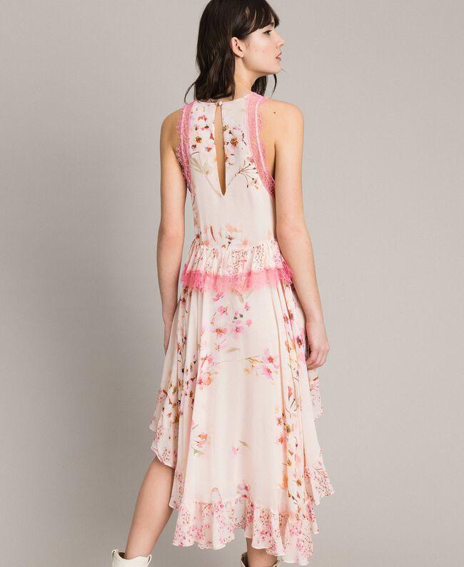 """Robe en georgette à motif floral avec dentelle Imprimé Rose """"Bouton De Rose / Peach Mix"""" Femme 191TP2712-03"""